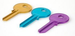 Orange, blue and purple house keys